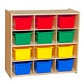 Wood Designs™ Contender™ 27 1/4in.H Assembled 12 Cubby Storage Unit With Colorful Tubs, Baltic Birch