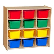 """Wood Designs™ Contender™ 27 1/4""""H Assembled 12 Cubby Storage Unit With Colorful Tubs, Baltic Birch"""