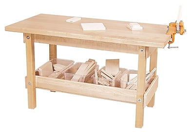 Wood Designs 44 x 20 Early Childhood Playtime Workbench With Trays and Wood, Birch