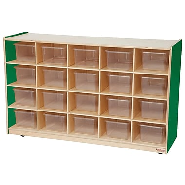 Wood Designs 20 Tray Storage With 20 Translucent Trays, Green Apple