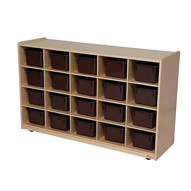 Wood Designs 20 Tray Storage With 20 Brown Trays, Birch