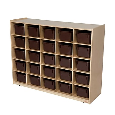 Wood Designs™ 25 Tray Storage With 25 Brown Trays, Birch