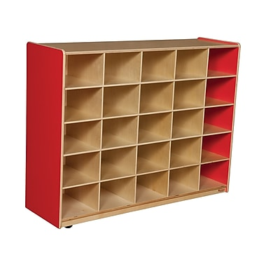 Wood Designs 25 Cubby Storage Cabinet Without Trays, Strawberry Red