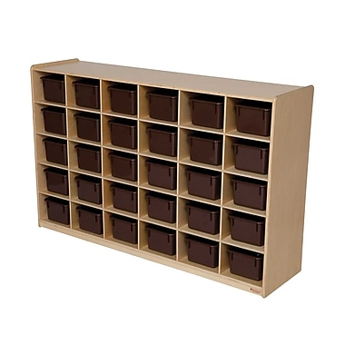 Wood Designs™ Tray Storage With 30 Brown Trays, Birch
