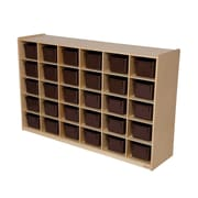 Wood Designs™ Tray Storage With 30 Brown Trays, Birch