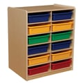 Wood Designs 12 - 3in. Letter Tray Storage Unit With 12 Assorted Trays, Birch