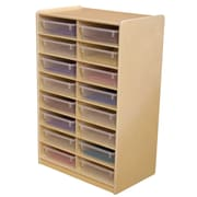 "Wood Designs 16 - 3"" Letter Tray Storage Unit With 16 Translucent Trays, Birch"