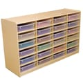 Wood Designs™ 24 - 3in. Letter Tray Storage Unit With 24 Translucent Trays, Birch