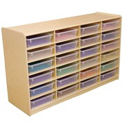 "Wood Designs™ 24 - 3"" Letter Tray Storage Unit With 24 Translucent Trays, Birch"