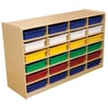 Wood Designs 24 - 3in. Letter Tray Storage Unit With 24 Assorted Trays, Birch