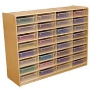 "Wood Designs 32 - 3"" Letter Tray Storage Unit With 32 Translucent Trays, Birch"