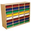 Wood Designs™ 32 - 3in. Letter Tray Storage Unit With 32 Assorted Trays, Birch