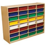 """Wood Designs 32 - 3"""" Letter Tray Storage Unit With 32 Assorted Trays, Birch"""