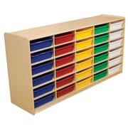 """Wood Designs 30 - 3"""" Letter Tray Storage Unit With 30 Assorted Trays, Birch"""