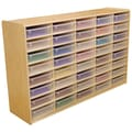 Wood Designs™ 40 - 3in. Letter Tray Storage Unit With 40 Translucent Trays, Birch