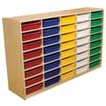 Wood Designs™ 40 - 3in. Letter Tray Storage Unit With 40 Assorted Trays, Birch