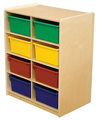 """""Wood Designs 8 - 5"""""""" Letter Tray Storage Unit With 8 Assorted Trays, Birch"""""" 508659"