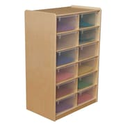 "Wood Designs 12 - 5"" Letter Tray Storage Unit With 12 Translucent Trays, Birch"