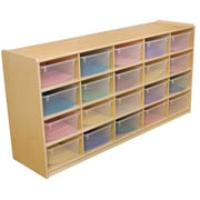 """Wood Designs 20 - 5"""" Letter Tray Storage Unit With 20 Translucent Trays, Birch"""