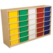 """Wood Designs 30 - 5"""" Letter Tray Storage Unit With 30 Assorted Trays, Birch"""