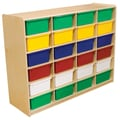 Wood Designs™ 24 - 5in. Letter Tray Storage Unit With 24 Assorted Trays, Birch