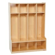 Wood Designs™ Four-Section Seat Locker, Birch
