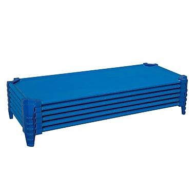 Wood Designs™ Unassembled Space Saving Cot, Solid Blue, 6/Set
