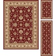TayseRugs Elegance Red Rug; 3 Piece Set