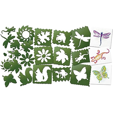 Roylco AC689 Green Nature Stencils, 10/Pack
