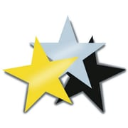 "S&S SL5823 12"" Scalloped Decorative Foil Stars, Yellow"