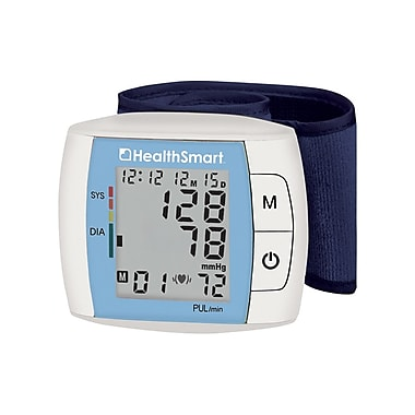 HealthSmart Automatic Wrist Blood Pressure Monitor with Fast Digital Readout and Expanded Memory, Blue