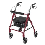 Briggs Healthcare  Lightweight Aluminum Rollator Curved Backrest Burgundy