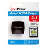 Cyberpower® TRAC2A1USB 2.1A USB AC Power Plug Travel Charger, Black