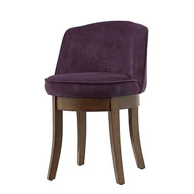 COASTER Eggplant Chenille Swivel  Wood & Fabric Accent Chairs Vanity Stool