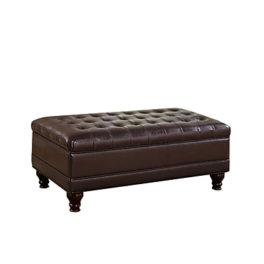 COASTER Traditional Oversized Faux Leather Storage Ottoman Dark Brown