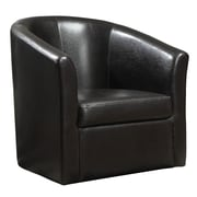 COASTER Swivel Chair  Leather-Like Vinyl Accent Chairs Dark Brown