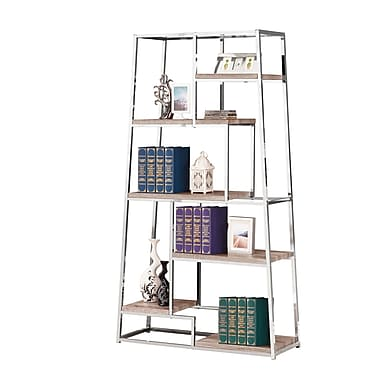 COASTER Bookshelf Tapered Chrome With Staggered Wood Shelves