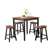 COASTER Backless Bar Stools and Table Oak & Black