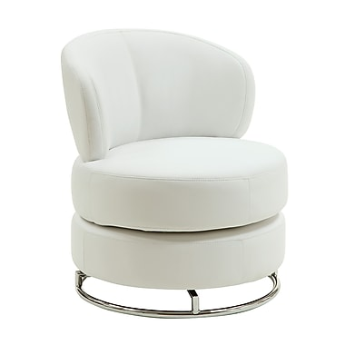 COASTER Fabric Swivel Accent Chair, White (902105)