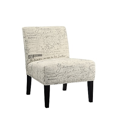 COASTER Wood & Fabric Contemporary Accent Chair, French Script