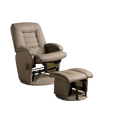 COASTER Matching Ottoman Leather like Vinyl Glider Chair Beige