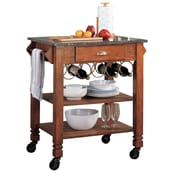 COASTER Oak Finish 36.25 H x 33.25 W x 24 D Kitchen Cart Storage