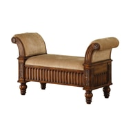 COASTER Upholstered Bench Medium Brown Finish