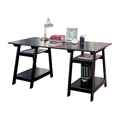 COASTER Double Pedestal Desk with Open Shelves, Black (800361)