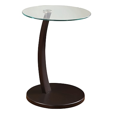 COASTER Snack Table Metal & Glass 17.75in.x 17.75in. x 23.75in.  Cappuccino Base