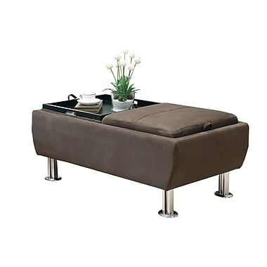 COASTER Ottoman Microfiber / Suede Serving Trays Brown