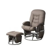 COASTER Metal & Fabric Faux Leather Recliner and Ottoman Beige