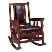 COASTER Leather Rocking Chair, Brown (600058)