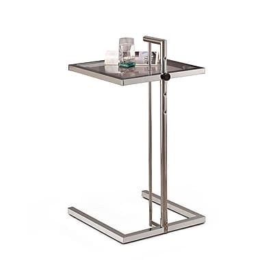COASTER 31.5in.H x 15.75in.W x 15.75in.D Metal & Glass Adjustable Snack Table