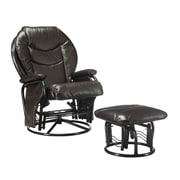 COASTER Glider Rocker Vinyl Recliner with Ottoman Brown